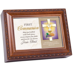 Wood Grain Music Box First Communion - GPMBWGTHOU