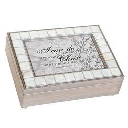Mother of Pearl Grey Brush Music Box - GPMPGBGRACE