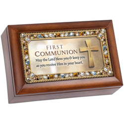 Petite Amber Jeweled Keepsake Music Box First Communion - GPPJGWGJESUS