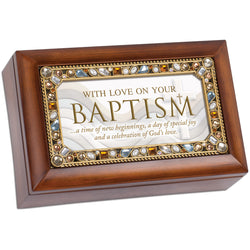 Petite Jeweled Amber Music Box Baptism- GPPJWJESUS
