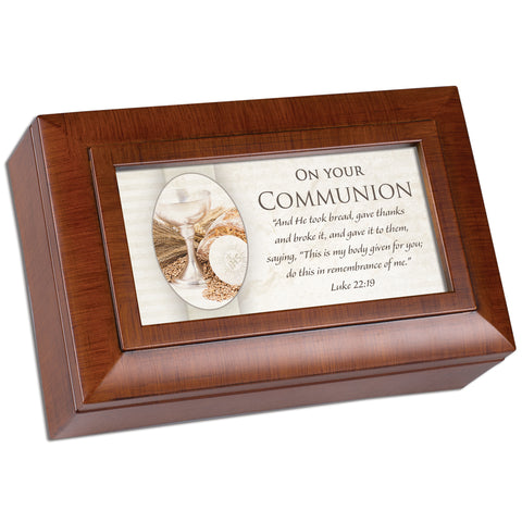 Petite Woodgrain Music Box First Communion- GPPMWGGRACE