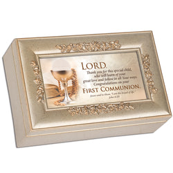 Champagne Petite Rose Music Box First Communion - GPPRCGRACE