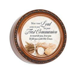 Wood Grain Keepsake Circle Box First Communion - GPTR493S