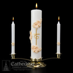 Holy Matrimony Wedding Ensemble (Stand, Center, and Two Side Candles)