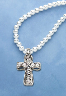 Crystal Cross Necklace - HX40177CR