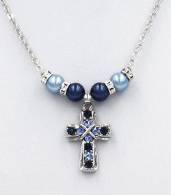 Pearl Necklace with Jeweled Cross - HXN5635MB