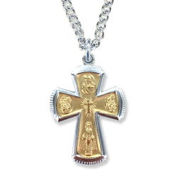 Two Toned Saint Cross Necklace - WOSM9641SH