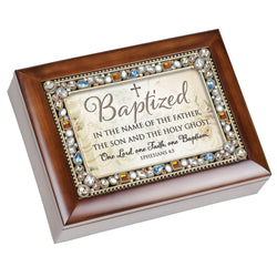 Wood Grain Jeweled Keepsake Music Box Baptism - GPJM425S