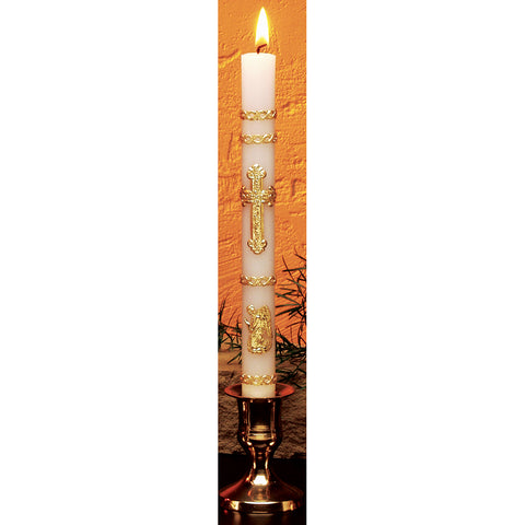HE90900 - Gold Leaf Ornamented Baptismal Candle
