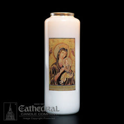 Patron Saint Glass 6 Day Candles - Our Lady of Perpetual Help - GG2105