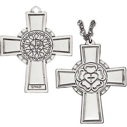 Luther Rose Pectoral Cross Sterling Silver - XWP144S
