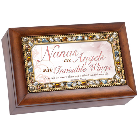 Petite Jeweled Woodgrain Music Box Grandma - GPPJTWGGRACEG