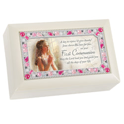 Petite Ivory and Pink Jeweled Keepsake Music Box First Holy Communion - GPPJGIVGRACE