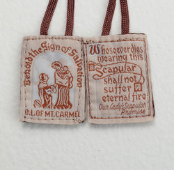 Cloth Scapular on brown cord - LAPL870BR