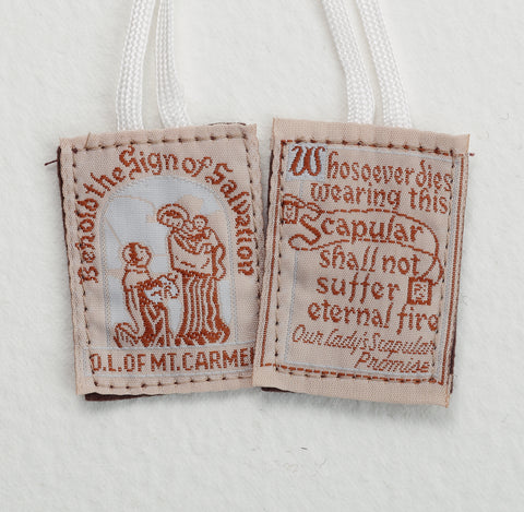 Cloth Scapular on white cord - LAPL870WH