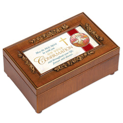 Petite Rose Wood Grain Music Box Confirmation- GPPMFLWGEAGLE
