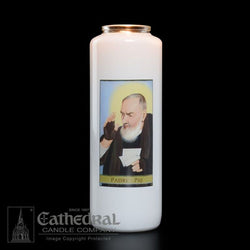 Patron Saint Glass 6 Day Candles - Padre Pio - GG2112
