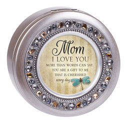 Round Jeweled Silver Music Box Mom - GPRJSGBWORLDM