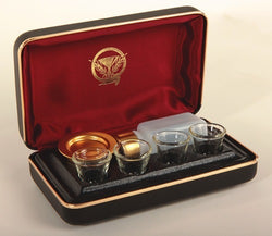 Four Cup Maroon Satin Lining Communion Set - EURW17