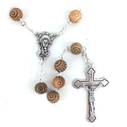 Olive Wood Carved Rosary - WOSR4007JC