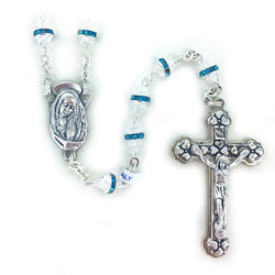 Aqua Glass Beaded Rosary- WOSR4011AQJC
