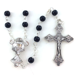 Black Glass Rosary - WOSR4013BKJC
