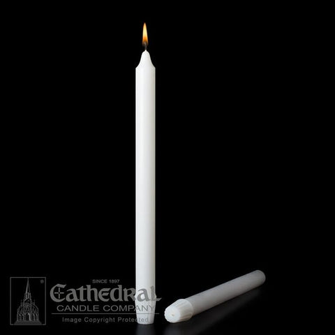 "Stearine White Molded Candles - 1-1/8""  x  9-3/8"""