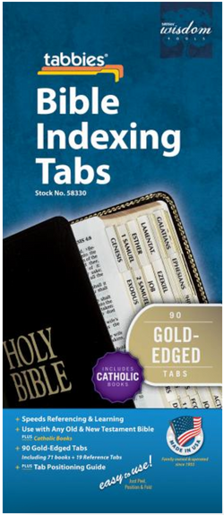 Bible Tab: Clear Tab with Gold Edge Strip & Black Lettering (Catholic) - 084371583300