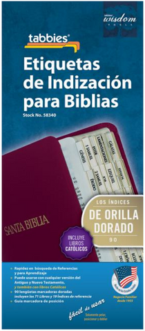Spanish Catholic Bible Tab with Gold Center Strip & Black Lettering - 9789900493402