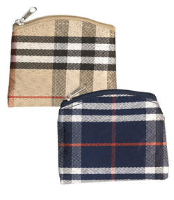 Plaid Rosary Pouch Tan/Dark Blue - TA1653