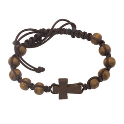 Dark Brown Cross Bracelet - UZBR688