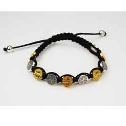 Black Corded Silver and Gold Benedictine Bracelet UZBR869C