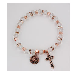 Copper and Crystal Rosary Bracelet UZBR892C