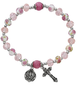 Pink Flower Crystal Stretch Bracelet UZBR898C