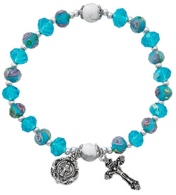 Aqua Flower Crystal Stretch Bracelet UZBR889C