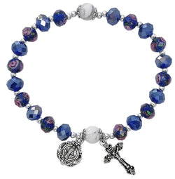 Blue Flower Crystal Stretch Bracelet UZBR901C