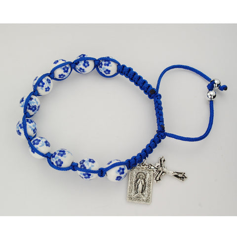 Blue Ceramic Corded Bracelet with Miraculous Medal UZBR902C