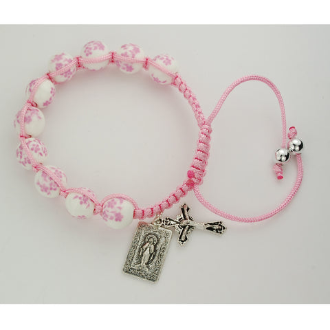 Pink Ceramic Corded Bracelet with Miraculous Medal UZBR903C