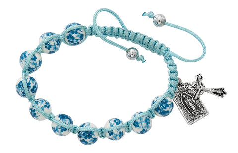 Aqua Ceramic Corded Bracelet with Our Lady of Guadalupe Medal UZBR935C