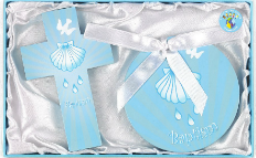 Baptism Crib Medal and Cross Set Blue - NP164169004