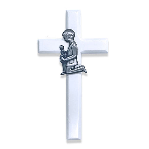 White Communion Boy Wall Cross - WOSEO4355
