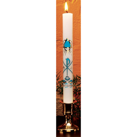 HE90100S - Molded Baptismal Candle (Spanish)