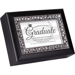 Black Jeweled Graduation Music Box - GPJMMBPOMPGRAP