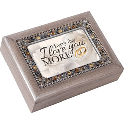 Jeweled Distressed Gray Music Box Anniversary - GPJMSGBLIGHTA