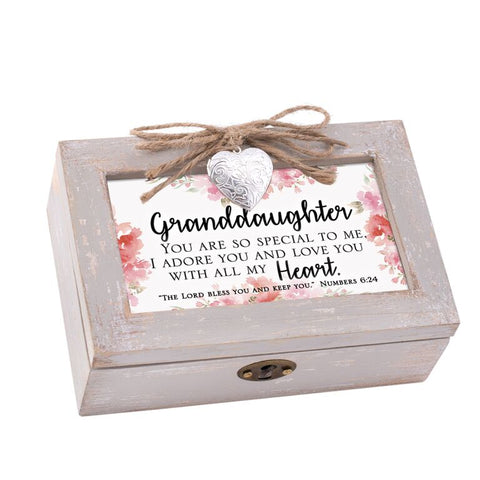 Petite Distressed Music Box with Locket Granddaughter- GPLPNTHOUGD