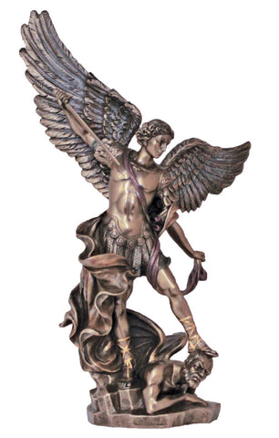 "14.5""  St . Michael Statue in Bronze - ZWSR71543"