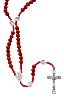 Red Wood Corded Holy Spirit Rosary - UZP265R
