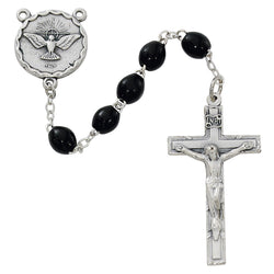 Oval Black Holy Spirit Rosary - UZR264SF