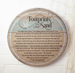 Footprints in the Sand Barrel Lid Plaque-EF57130T