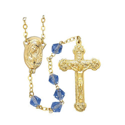 Sapphire with Gold Chain Rosary-WOSR3972SAJC